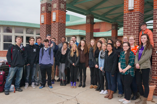 Ready for take-off: Valley Regional HS language students gather for a photo at the school immediately prior to departure.