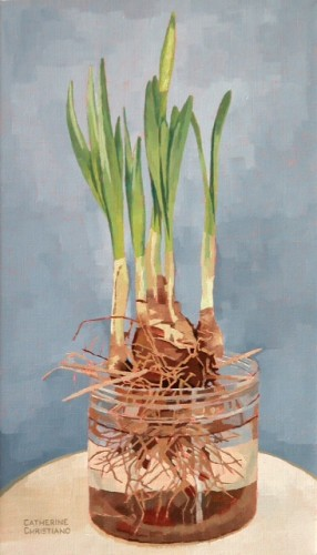 Forced Narcissus, by Catherine Christiano, on linen, 14 x 8 inches, 2005.