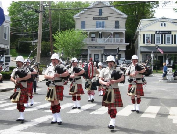 This band of bagpipers added a Scottish element  to the parade.