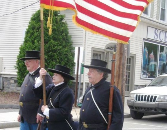 A color guard on parade.