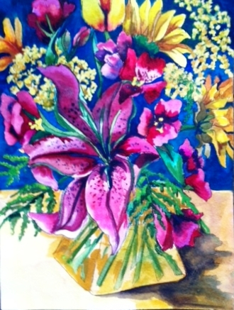 'In a Yellow Vase' by Claudia van Nes is one of the signature paintings of the Anniversary Exhibition at Maple & Main Gallery in Chester.