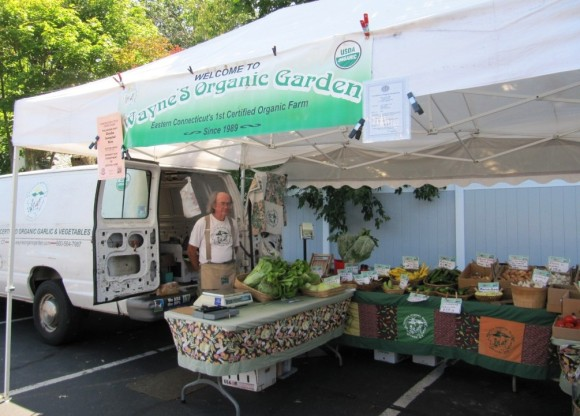 Wayne's Organics has been with the market for many years. Photo courtesy of Old Saybrook Farmer's Market.