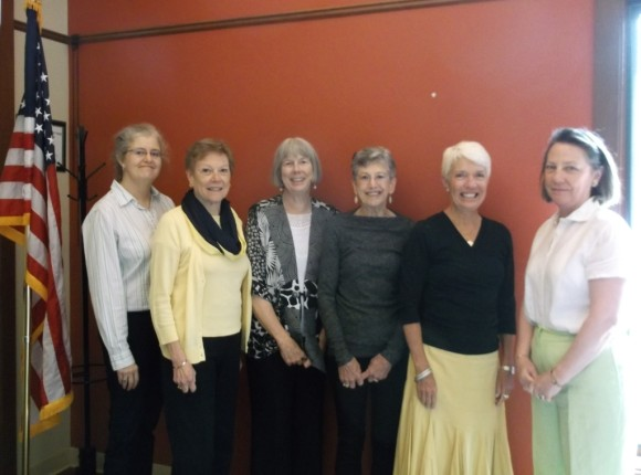 From left to right,  Judy Fish, Betsy Godsman, Peggy Tuttle, Linda Levene, Jo Kelly and Genie Devine.  Absent is Pat Mather.