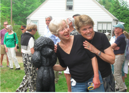 Morgana's sculpture with Ina Bomze and sculptor Helen M. Johnson.