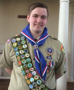 Chester/Deep River Boy Scout Troop 13 newest Eagle Scout Nathaniel Kinsman. Photo by: Lianne Rutty