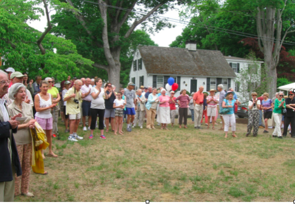 A large crowd of spectators gathered at the dedication of the new Essex park featuring the Morgana sculpture.