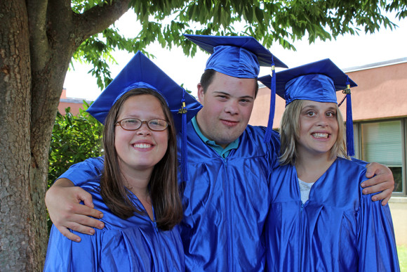 A time to celebrate -- Vista graduates (from left to right) Casey Cincotta, Max Gebert and Danielle Garley share a smile.