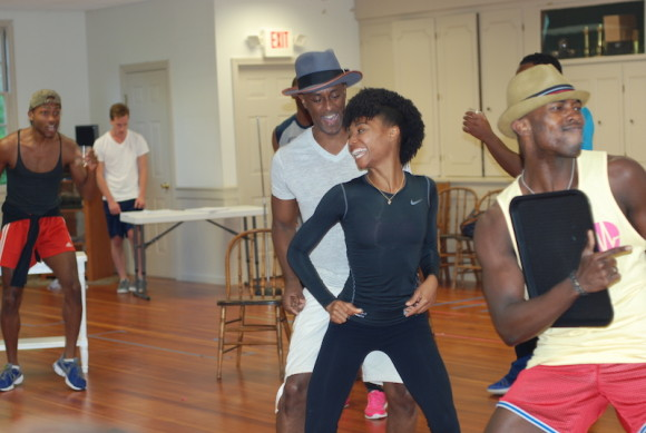 Taavon Gamble*, Michael Sullivan, Teren Carter*, Mya Rose and Kevin Moeti in a recent rehearsal.