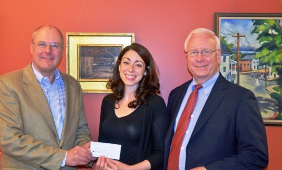 Rotary Club of Essex donates funds to the Essex Library for the artwork project.  From left to right: Stephen Brinkmann, Rotary Club Treasurer;  Jessica Branciforte, Head of Children's and Youth Services and Richard Conroy, Library Director.