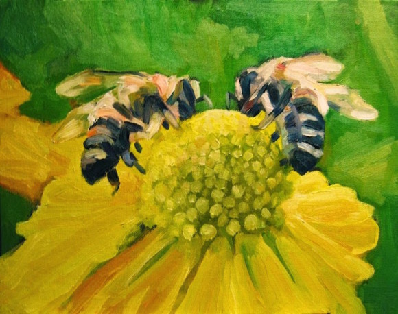 """Busy Bees"" by Michael Centrella of Cheshire is just one of the numerous unframed original art pieces at Maple & Main Gallery's Sidewalk Sale event on Aug. 29."