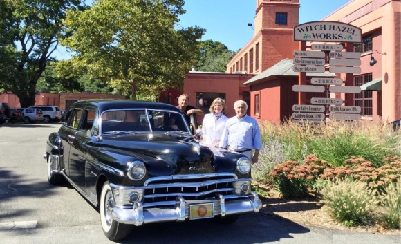 (from l-r): Ralph Hermann of Antique Auto Service, Susan Malan of the Essex Historical Society, and Jay Beveridge of the Belltown Antique Car Club with the 1950 Chrysler Imperial Limousine, which was owned by the E.E. Dickinson Company, and is one of the many classic automobiles that will be participating in the 5th Annual Fall Foliage Car Show and Tour taking place on October 18 in Essex.