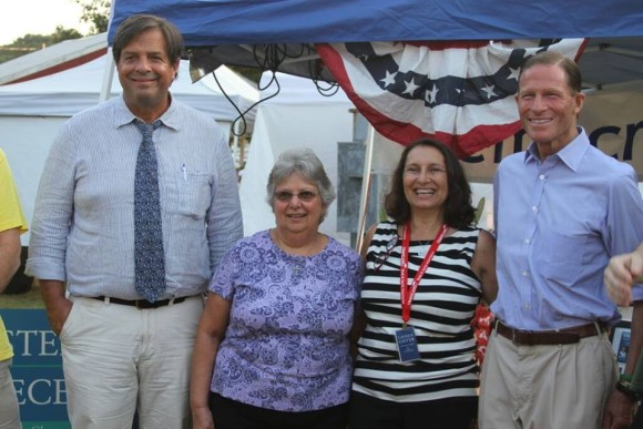 State Representative Phil Miller (D-36), Democratic Selectman Candidate Charlene Janecek, Democratic First Selectman Candidate Lauren Gister and US Senator Richard Blumenthal visit Chester Fair