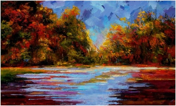 """Participants in the upcoming """"Paint Night"""" will paint a beautiful fall landscape with guidance from local artist and Vista employee Samantha Listorti."""