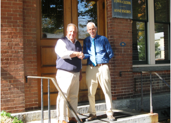 Deep River First Selectman Dick Smith and Essex First Selectman Norman Needleman (l to r) pose outside Town Hall in Deep River (photo by Jerome Wilson)