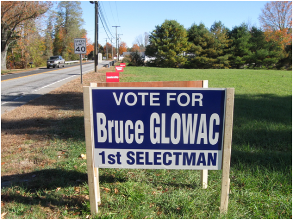 Campaign sign for Republican First Selectman candidate Bruce Glovac