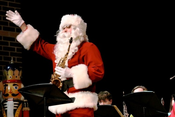 Santa (CMS faculty member Andrew Studenski) and his saxophone made an appearance at the 2014 Holiday Concert. Photo courtesy of Joan Levy Hepburn.