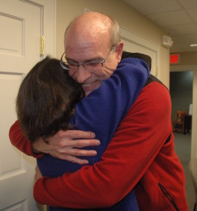 Tom Englert congratulates Lauren Gister after the result was announced Tuesday evening.