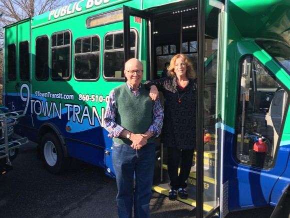 9 Town Transit board members Leslie Strauss and John Forbis show off the agencies newest buses. Photo by Estuary Transit District.