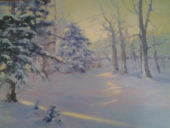 'Village Morning' by Barbara Lussier is one of the signature paintings of the exhibition.