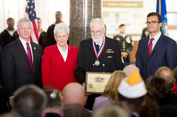 Left to right: Connecticut Department of Veterans Affairs Commissioner Sean Connolly, Lt. Gov. Nancy Wyman, Connecticut Veterans Hall of Fame Class of 2015 Member PW Louthain, and Sen. Art Linares.