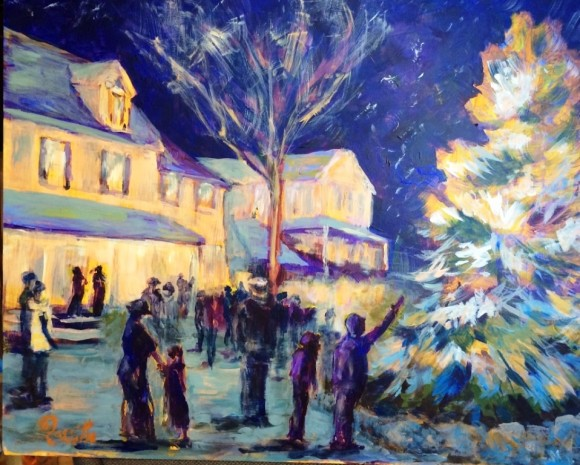 "Maple and Main Gallery, located across from the town Christmas tree, will be serving wine, appetizers and chocolates. Music will be provided by Sibling Thrivarly until 8 p.m. Enter the free drawing for an oil painting, ""Star Gazing,"" by Faye Mylen of Fairfield, her interpretation of Vincent Van Gogh's painting, ""Starry Night."" The painting shown here of Chester's own Starry Night is by Barbara Rossitto, a Galelry artist."