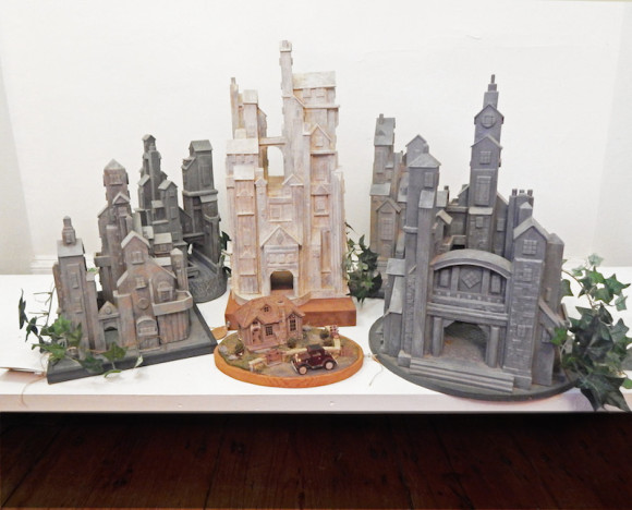 Geoffrey Vollers, brother of Bill Vollers of Chester, will exhibit his handmade wooden castle sculptures at Gallery 31-47 in Chester Center during January.