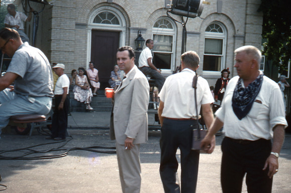 "Jack Lemmon, one of the Hollywood stars in ""It Happened to Jane,"" takes a break on Main Street in front of the old Chester Bank building during the movie filming. Photo courtesy of Peggy Breslin"