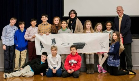 gyptologist Kent Weeks visited The Country School to speak with students about his work in Egypt. Fifth Graders are pictured here with their teacher, Kerri Kelly, and Dr. Weeks, along with a hieroglyphic message they created in his honor. Standing, left to right, are: Andrew Walter-Zona, North Branford; Ian Marshall, Killingworth; Philip Warren, Old Saybrook; Colin Higginson, Madison; Elke Zigmont, Madison; Wendol Williams, Madison; 5th Grade teacher Kerri Kelly, Essex; Liliana Boone, Middletown; Kameron Borden, Clinton; Madison Grady, Clinton, and Dr. Kent Weeks. Pictured front row, left to right, are: Jenson Taylor, Westbrook; Erik Howie, Madison; Jackson Chontos, Old Lyme; and Willa Wurzbach, Killingworth. Photo by Kate Cordsen