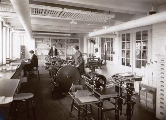Printing area, ground floor of new office 1929