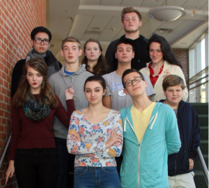 """The Addams Family"" cast members (L-R): front: Miranda Holland, Nathan Russo; second row: Maggie Walsh, Connor Riordan, James D'Amico, Annie Brown, Jonny Leffingwell; back: Dilan Rojas, Jennifer Roberts, and Mitch Conrad"