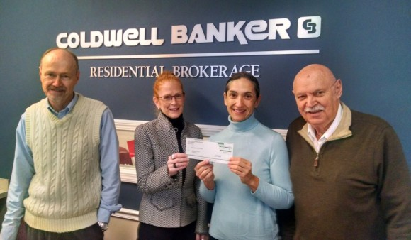 The Coldwell Banker Residential Brokerage Essex office presented $1,000 to the Shoreline Soup Kitchen & Pantries. Pictured from left are affiliated sales associates Rick Greene, Laurel Peters, Executive Director Patricia Dowling, and Roy Monte.