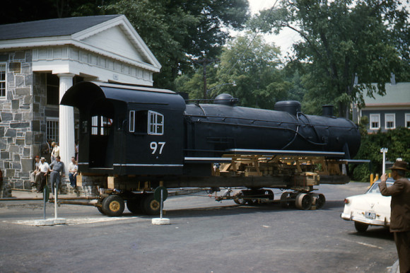"Louis Bertelli was one of the builders of ""Old 97,"" a wooden locomotive that was moved into a newly planted park for the ""Jane"" movie (where the Chester Package Store parking lot is today). Photo courtesy of Peggy Breslin"