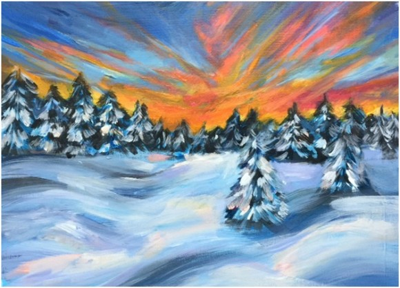 This snowy landscape will be the subject of the upcoming Paint Night with Vista at the Pub on Monday, Jan. 25th.