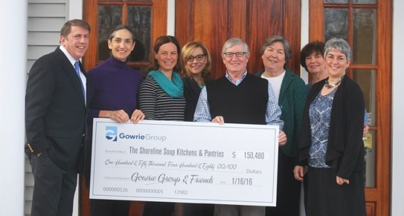 (left to right): Ed Gumbrecht, Gowrie Group; Patty Dowling, SSKP executive director; Whitney Peterson, Gowrie Group; Lindas Dillon, Gowrie Group & SSKP board; Carter Gowrie; Rev. Martha Bays, SSKP board chair; Barbara Whitcher, SSKP board; and Claire Bellerjeau, SSKP.