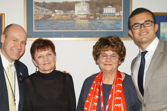 From left to right: Rep. Devin Carney, Jean Caron of Old Saybrook, Marian Speers of Old Saybrook and Sen. Art Linares.