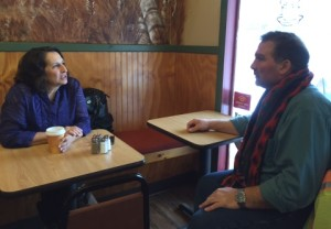 "First Selectwoman Lauren Gister chatted with Mark Russell about the Main Street bridge construction at The Villager on Feb. 10 after answering questions from residents. This was the first of the occasional ""chats"" Gister is holding to give residents a chance to talk with her."