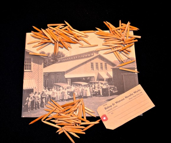 "The Chester Historical Society invites you to take its Sticks Challenge based on these ""orange sticks"" made by the Bishop and Watrous Novelty Works around 1950. More information at the Chester Gallery, 860-526-9822. Photo by Skip Hubbard"