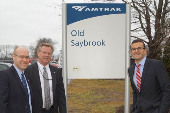 Rep. Devin Carney, Sen. Paul Formica and Sen. Art Linares (L-R) joined with state transportation officials and Lt. Gov. Nancy Wyman for a ribbon-cutting ceremony to mark the opening of the new 200-space parking lot at the Old Saybrook train station.
