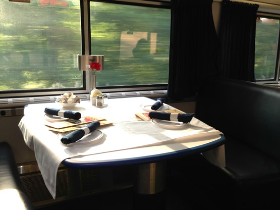 An Amtrak dining car, from the Amtrak blog