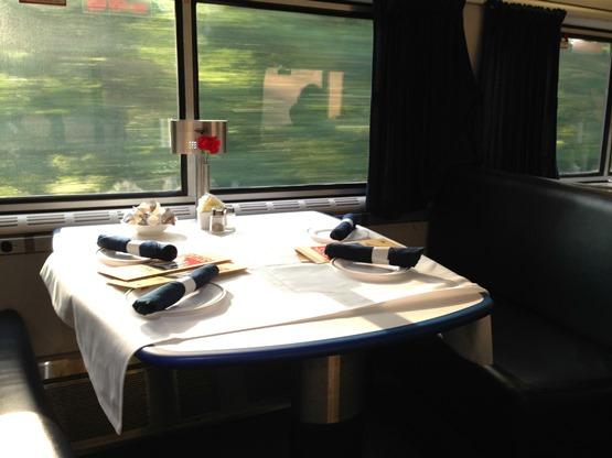 An Amtrak dining car, from the Amtrak blog