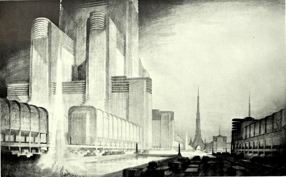 Hugh Ferriss's rendering of an imaginary city