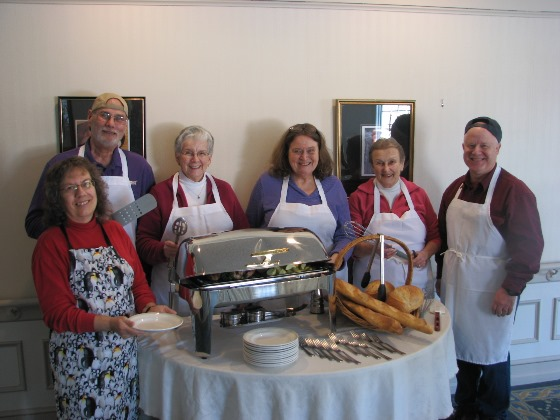 Members of the First Congregational Church who are preparing for the April 9 Pasta Supper and Open Mic Night are: (L-R) Delcie McGrath, Essex; Mike Hennessy, East Lyme; Emily Williams, Essex; Sharyn Nelson, Ivoryton; Mary-Lawrence Bickford, Essex; and Richard McGrath, Essex.