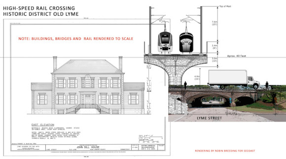 Rendering by Robin Breeding of the high-speed train in Old Lyme drawn/created to scale.