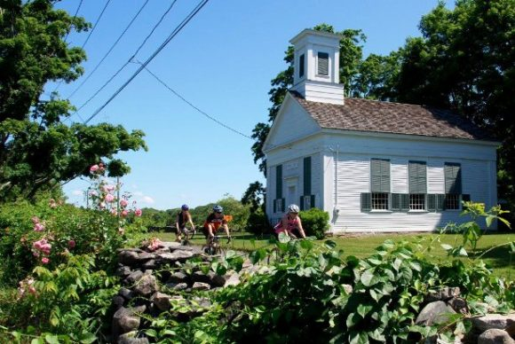 Tour de Lyme riders cycle past Grassy Hill Church