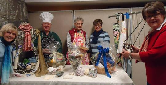 Cooking it up! Members of the First Congregational Church in Essex preparing for the Mother's Day Gift Fair and May Breakfast on May 7 are: (l to r) Lillian Mosa, Rick McGrath, Audrey Lyons and Judy Greene, all of Essex; and Joan Hill of Ivoryton. Photo courtesy of Delcie McGrath.