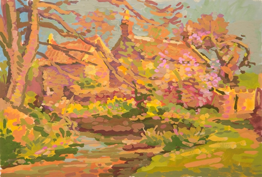 """Spring in Chewstoke, England"" - gouache, 7 x 11 inches by Leif Nilsson 2016 ©"