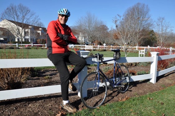 Don Shildneck may be resting against a fence for this photo, but you won't see this 85-year-old rider from Essex resting on Sunday at the Tour de Lyme.