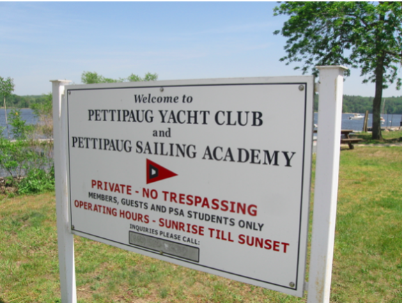 This sign welcomes Pettipaug Yacht Club members and visitors to the site of Woman's Sailing Group.