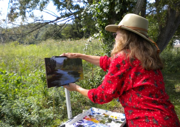 Judy plein air painting in Chester