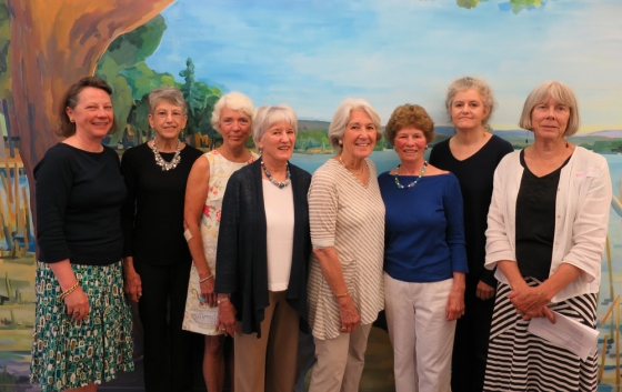 The Friends of Essex Library new Board for 2016 (L-R): Genie Devine, Secretary; Linda Levene, Past President; Jo Kelly, President; Judy Taylor, Catharine Wagner, Susan Hosack (not shown), Members at Large; Pat Mather, Treasurer; Judy Fish, Ivoryton Library Liaison; Peggy Tuttle, Book Sales Coordinator.